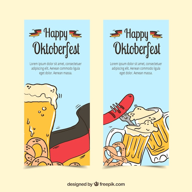 Oktoberfest, hand-drawn banners