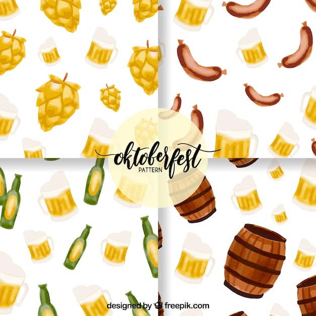 Oktoberfest, hand-painted patterns Free Vector