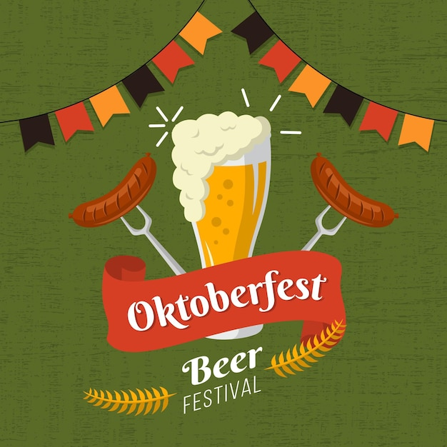Oktoberfest illustration with beer and sausages Free Vector