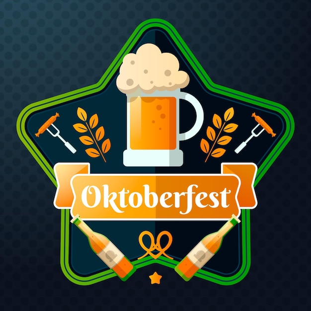 Oktoberfest illustration with pint and bottles Free Vector