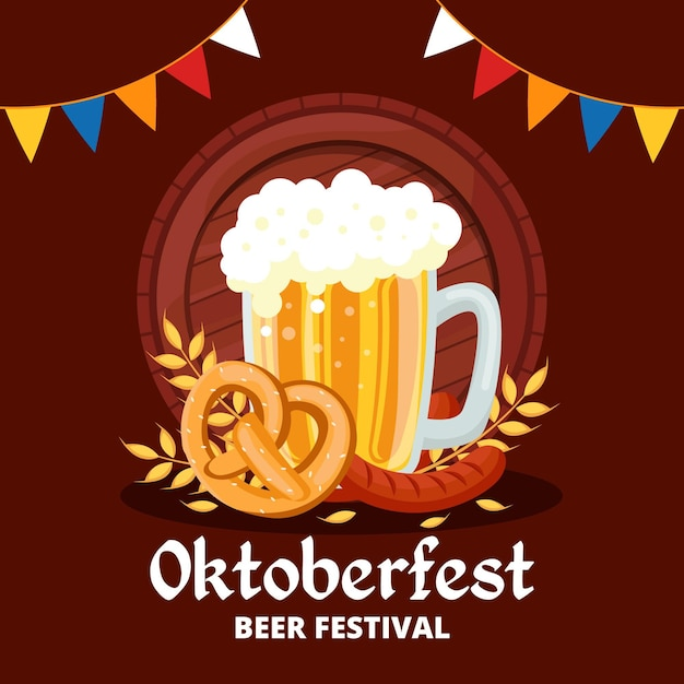 Oktoberfest illustration with pint and garlands Free Vector