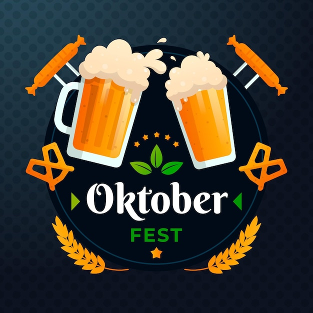 Oktoberfest illustration with pints and sausages Free Vector