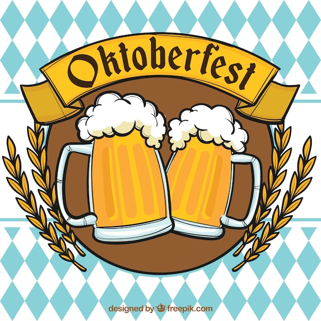 Oktoberfest, insignia with beers Free Vector