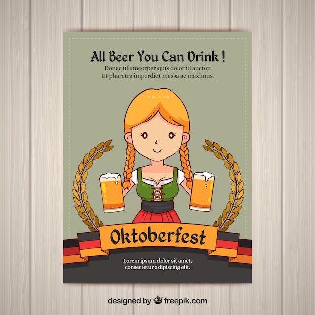 Oktoberfest Invitation Of Girl With Beers Vector
