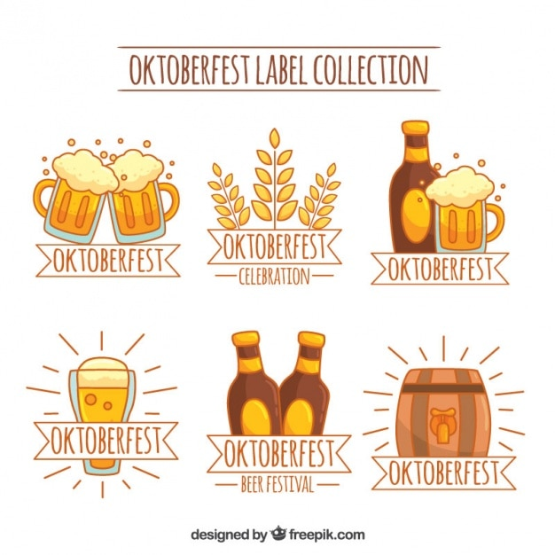 Oktoberfest label collection in yellow and brown tones