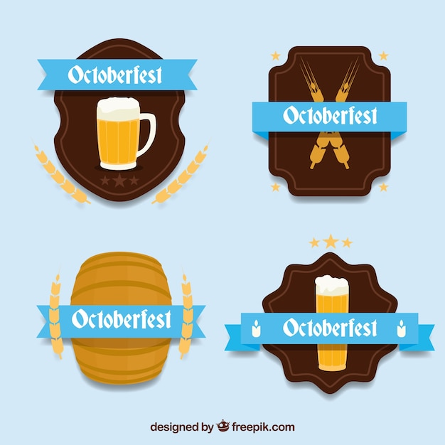 Oktoberfest label collection with flat design