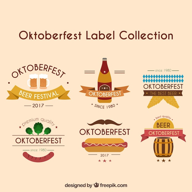 Oktoberfest label collection with ribbons