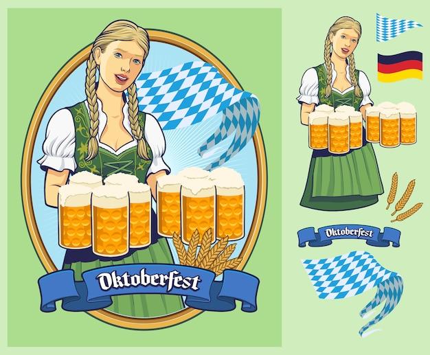 Oktoberfest, lady in dirndl serving big beers. Premium Vector