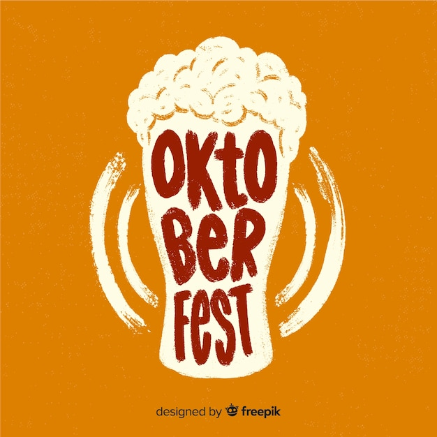 Oktoberfest lettering background with elements Free Vector
