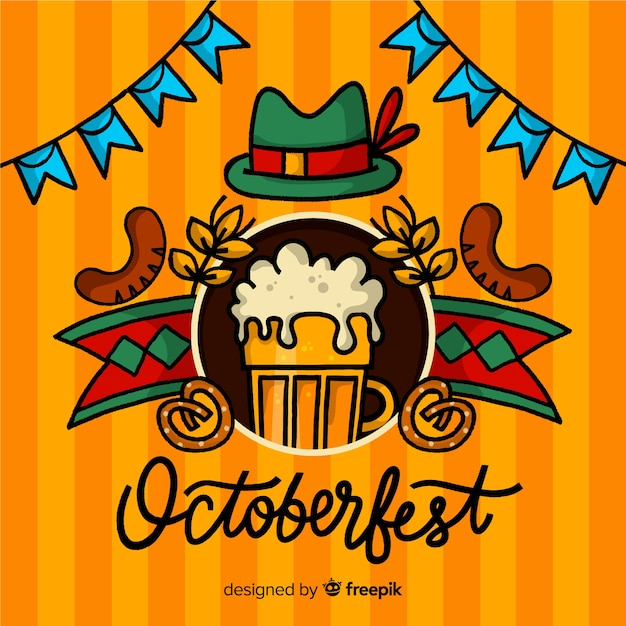 Oktoberfest lettering background Free Vector