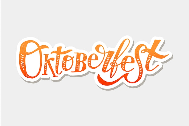 Oktoberfest lettering calligraphy brush text holiday sticker Premium Vector