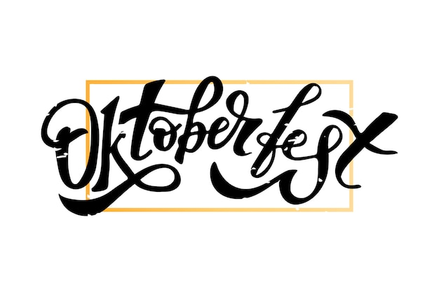 Oktoberfest lettering calligraphy brush text holiday Premium Vector