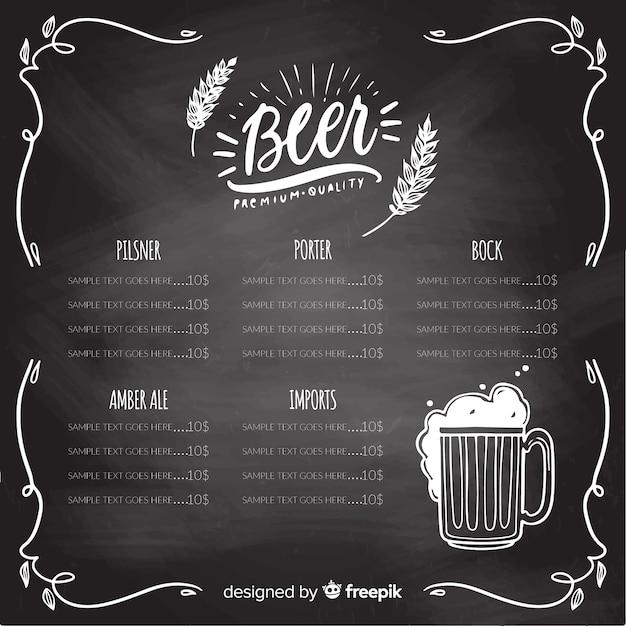 Oktoberfest menu template with blackboard style Free Vector