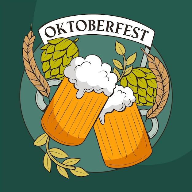 Tazze e foglie di luppolo dell'oktoberfest Vettore gratuito