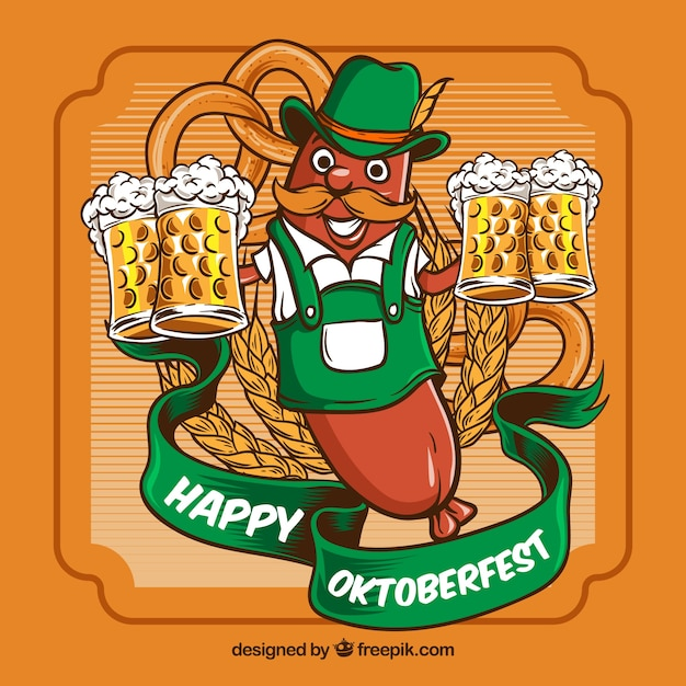 Oktoberfest, orange badge with beer