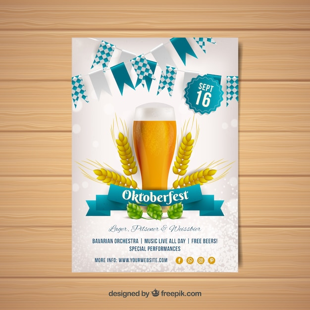 Oktoberfest party brochure with beer Free Vector