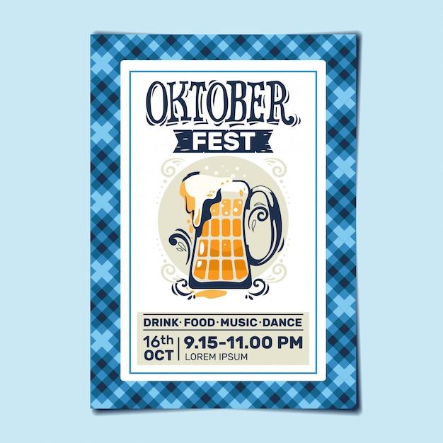 Oktoberfest party flyer or poster template design invitation for beer festival celebration Premium Vector