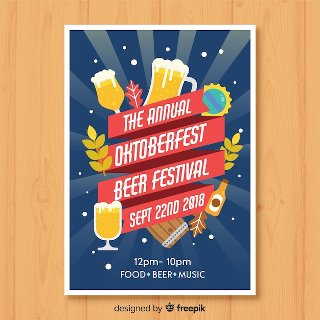 Oktoberfest party poster in flat design Free Vector
