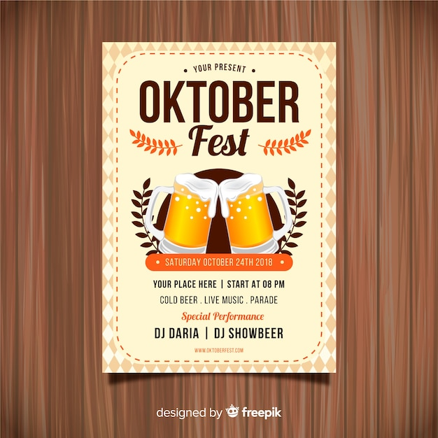 Oktoberfest party poster with realistic design Free Vector
