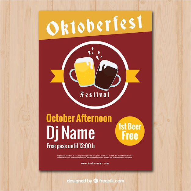 Oktoberfest party poster with vintage style