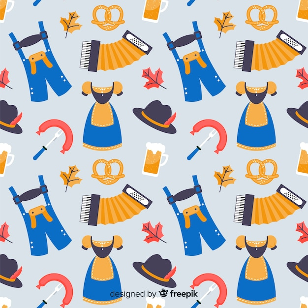 Oktoberfest pattern with traditional elements Free Vector