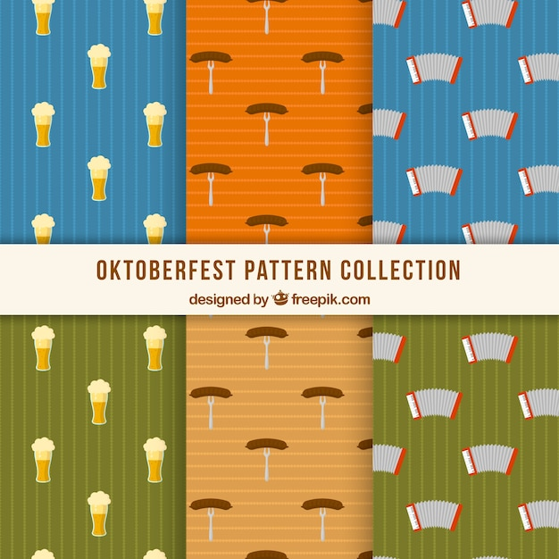Oktoberfest patterns with accordion, sausage and beer