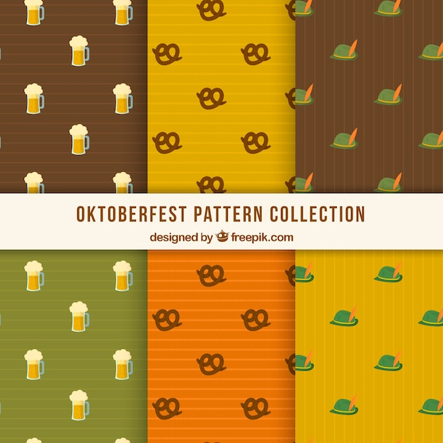 Oktoberfest patterns with beer, pretzel and hat
