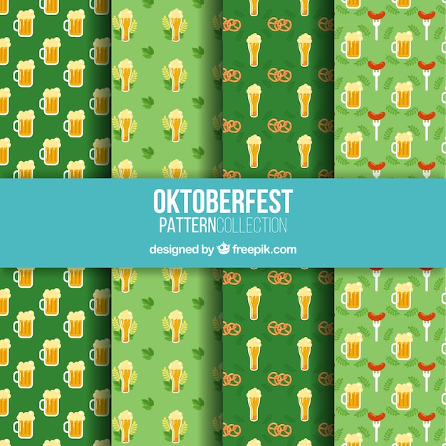 Oktoberfest patterns with beer, pretzels and sausages