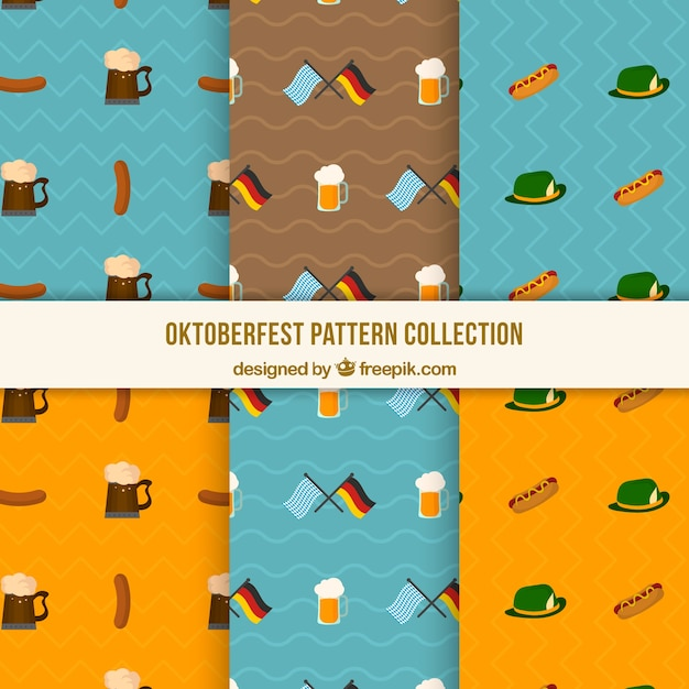 Oktoberfest patterns with german products and flags