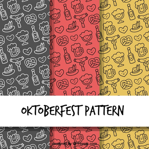 Oktoberfest patterns with hand drawn style