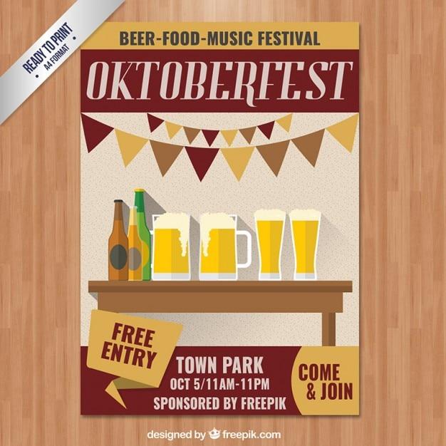 oktoberfest poster invitation vector free download