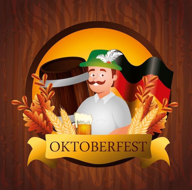 Oktoberfest poster and man with beer Free Vector