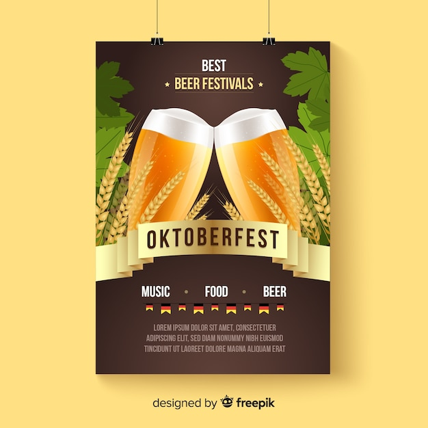 Oktoberfest poster mockup in realistic style Free Vector
