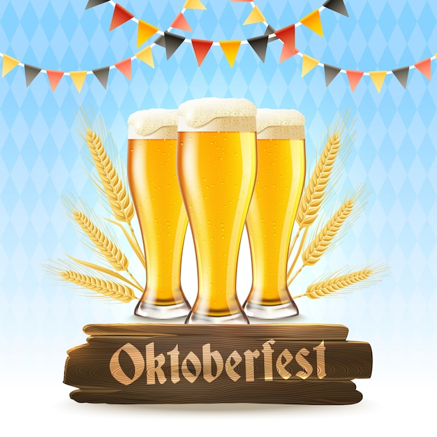 Oktoberfest poster realistic Free Vector