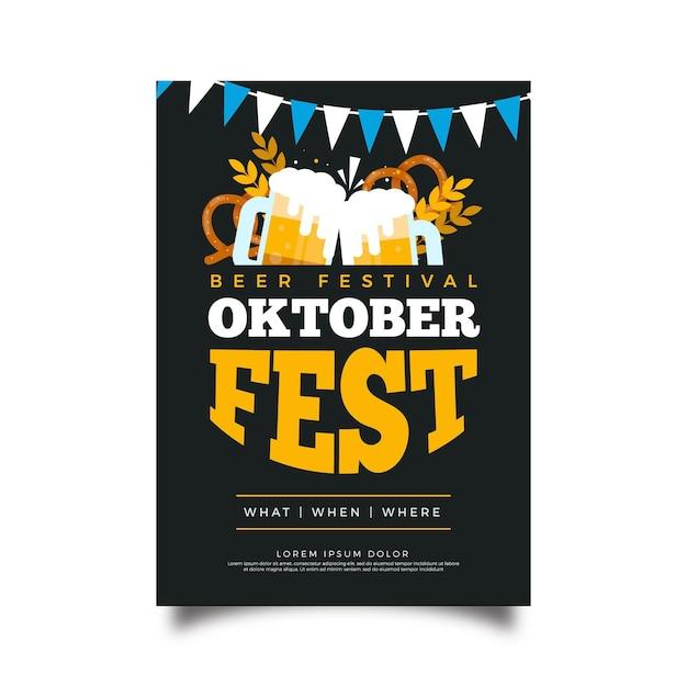 Октоберфест дизайн плаката Бесплатные векторы