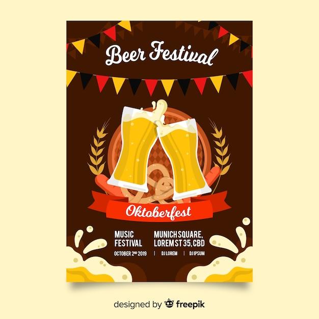 Oktoberfest poster template flat design Free Vector