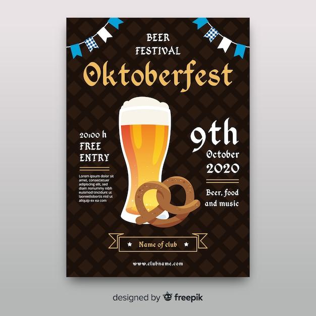 Oktoberfest poster template flat style Free Vector