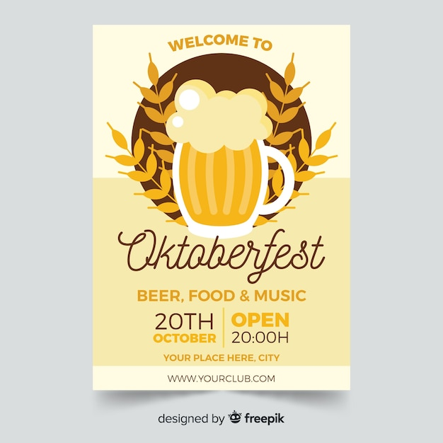 Oktoberfest poster template flat style Free Vector
