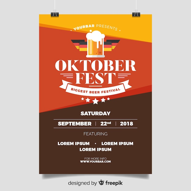 Oktoberfest poster template with flat design Free Vector