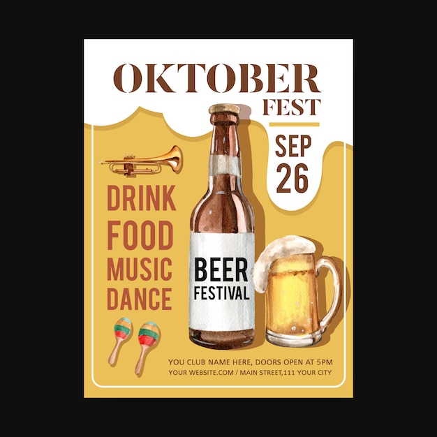Oktoberfest poster template with isolated musical instrument, beer design watercolor illustration Free Vector