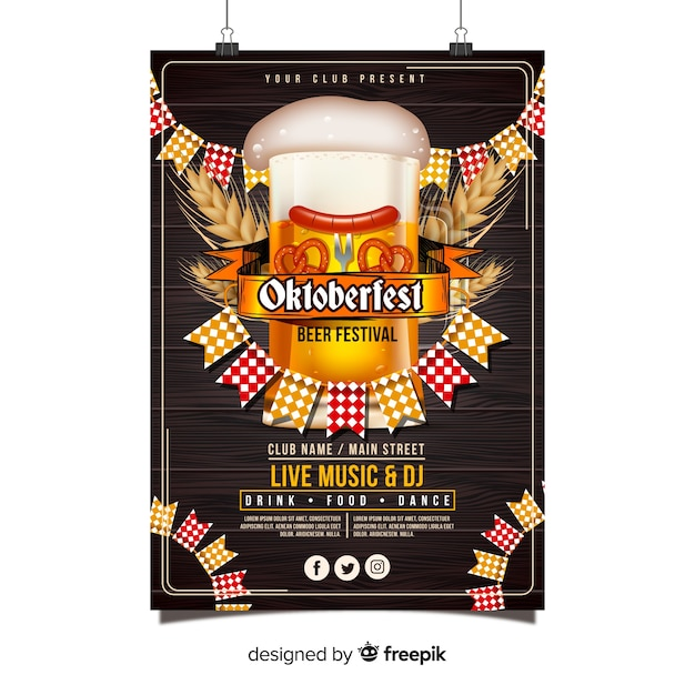 Oktoberfest poster template with realistic design Free Vector