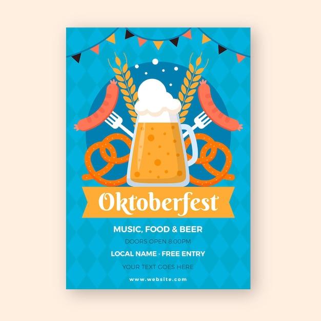Шаблон постера октоберфест Бесплатные векторы