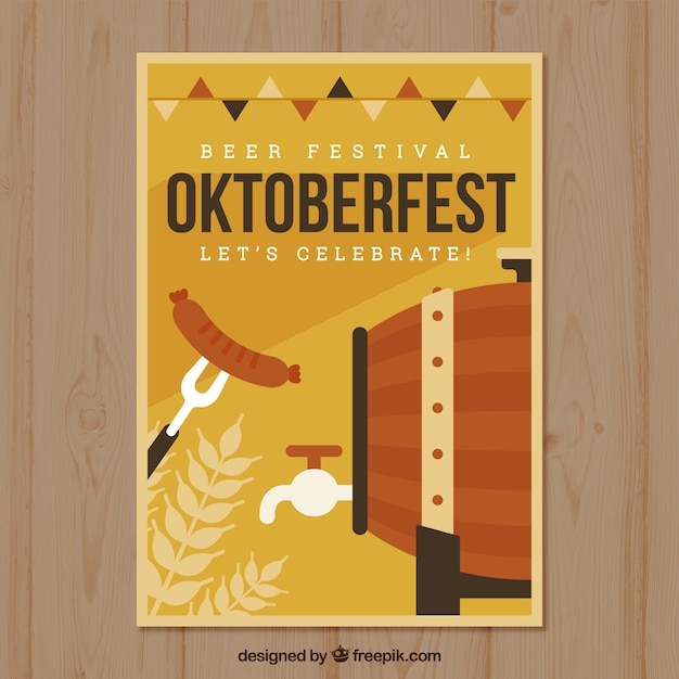 Oktoberfest poster with barrel and sausage