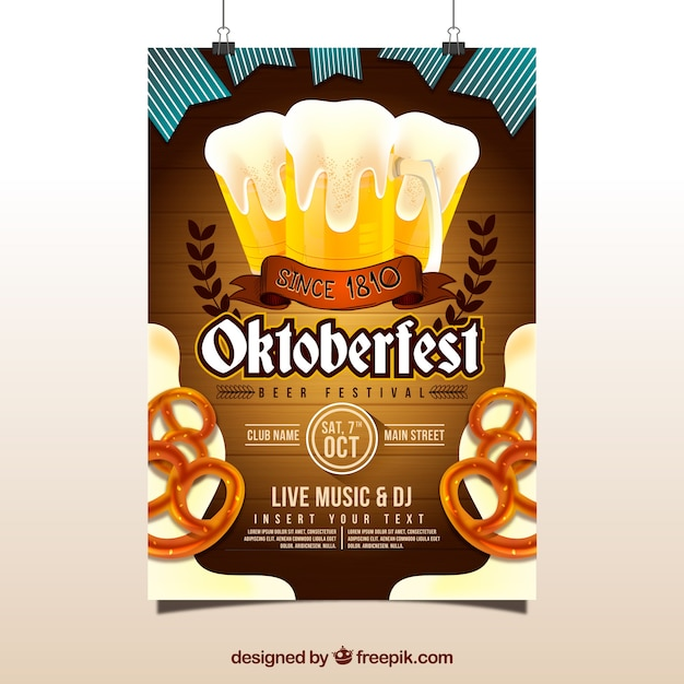 Oktoberfest poster with beer and pretzels Vector | Free ...