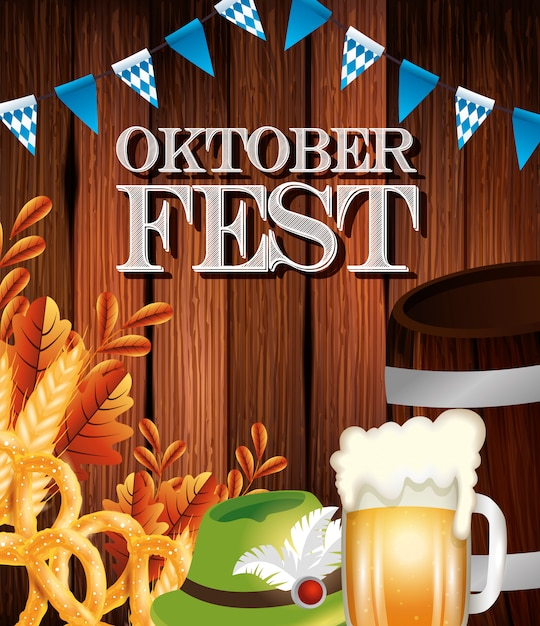 Oktoberfest poster with beer jar and icons Free Vector