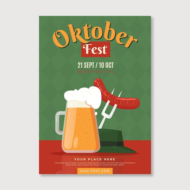 Oktoberfest poster with beer and sausage Free Vector