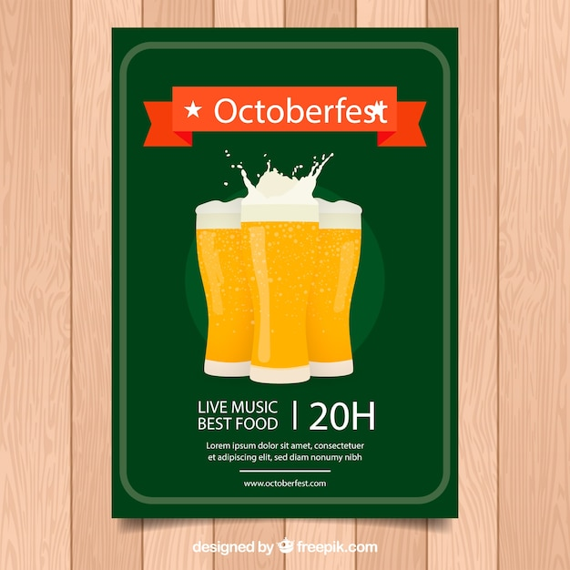 Oktoberfest poster with glasses of beer