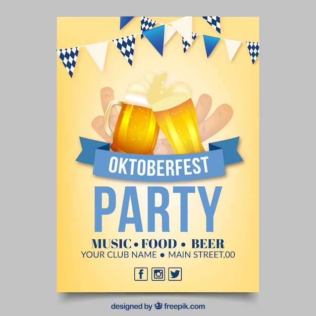 Oktoberfest poster with two beers and a blue ribbon