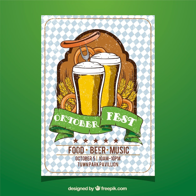 Oktoberfest, poster with two beers