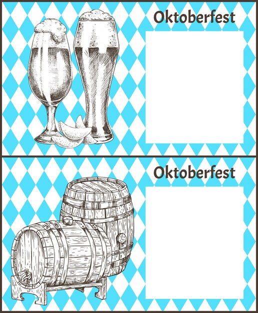 Oktoberfest posters set keg of beer and ale glass Premium Vector